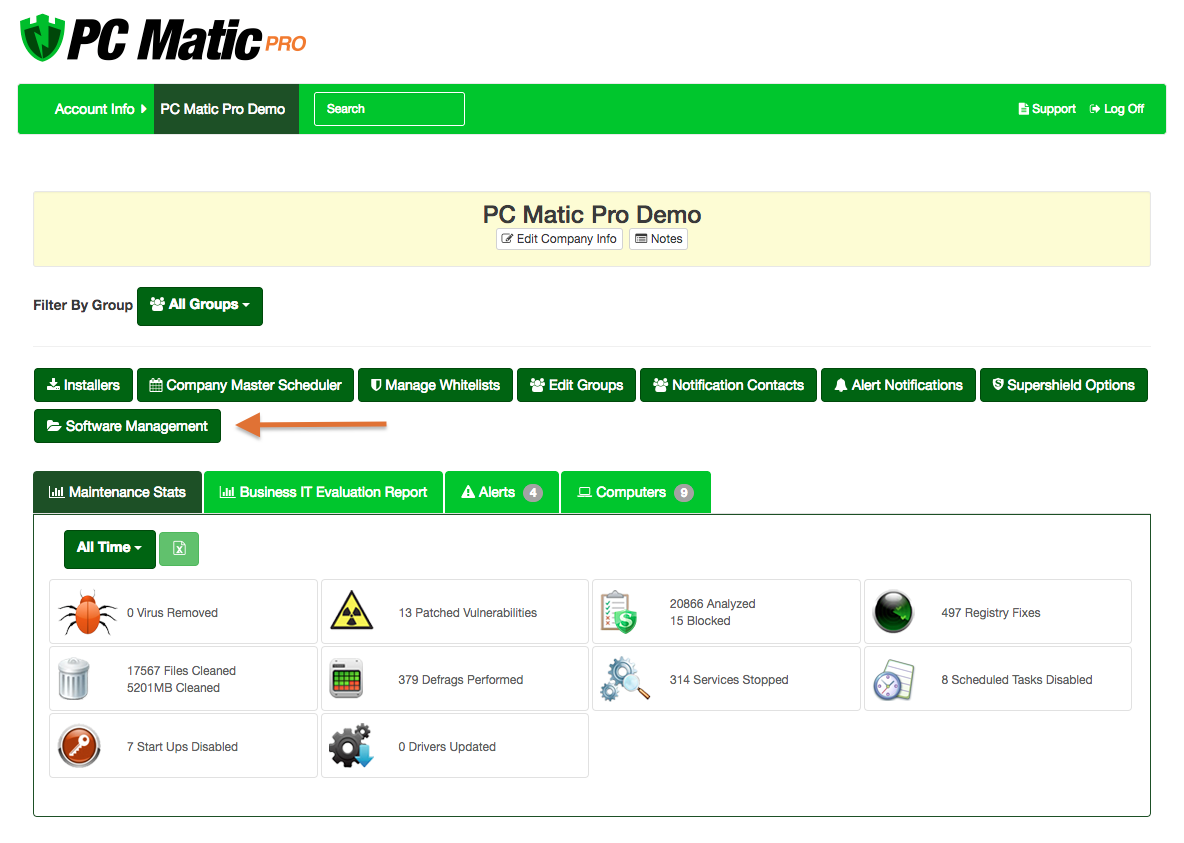 PC Matic Pro & MSP's new Software Management tab