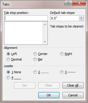 Figure 1. The Tabs dialog box.