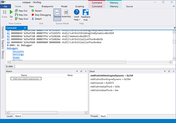 WinDbg Debugger Window