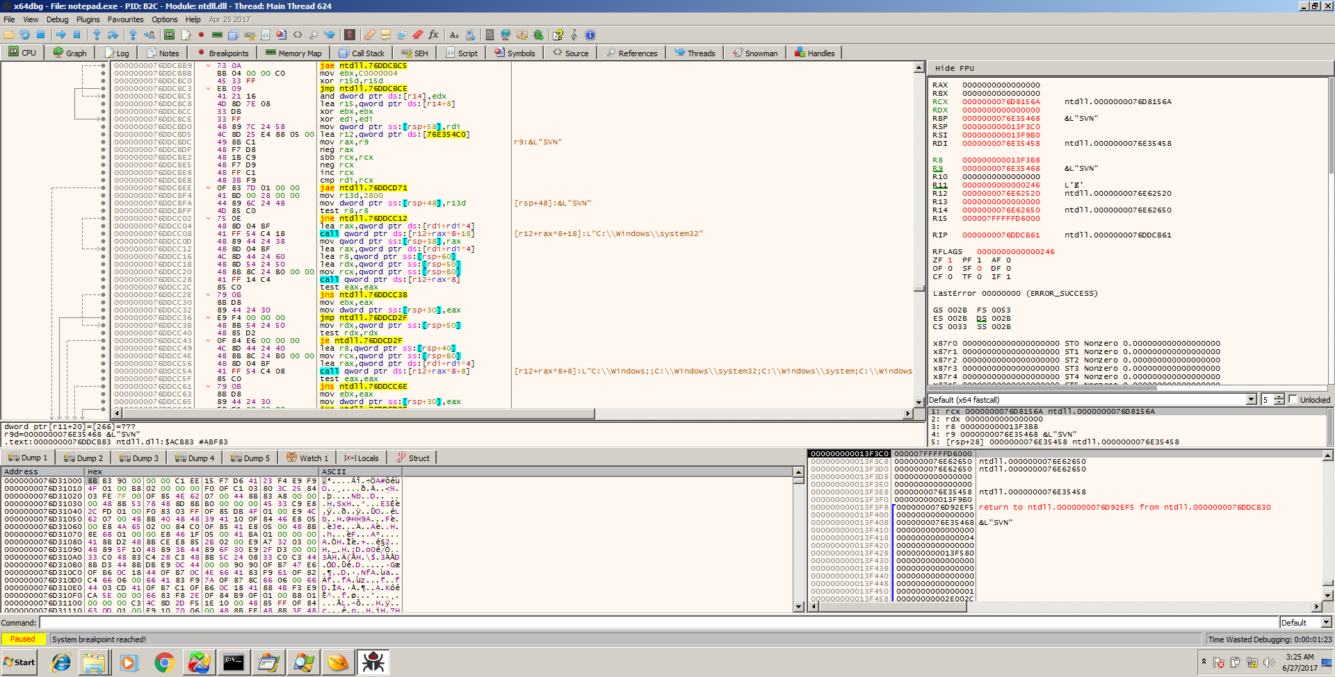 X64Dbg with Notepad open