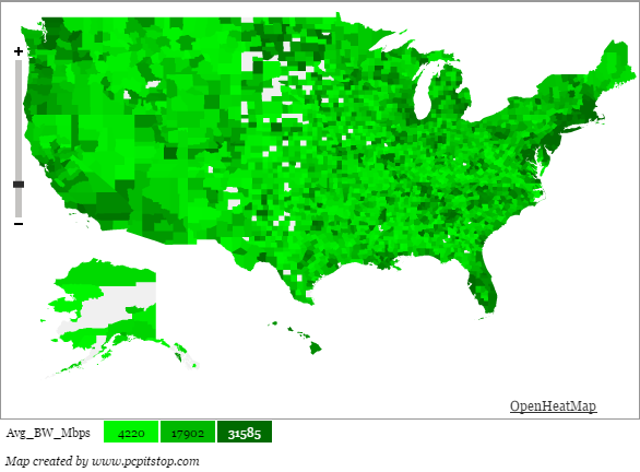 US Geographic Average Home User Download Bandwidth - Us internet speed map