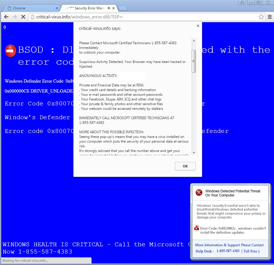 Fake blue screen inside of Chrome web browser
